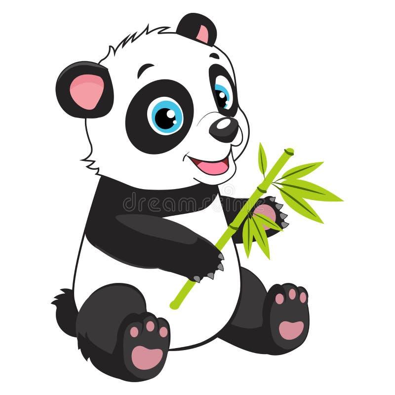 Tecknad film Panda Eats Bamboo Branch Liten rolig björn Panda Vector Image vektor illustrationer
