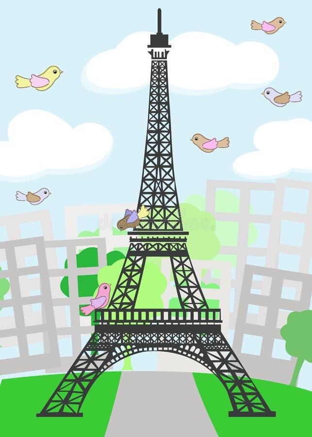 Tecknad Film Paris Med Fåglar Arkivbilder