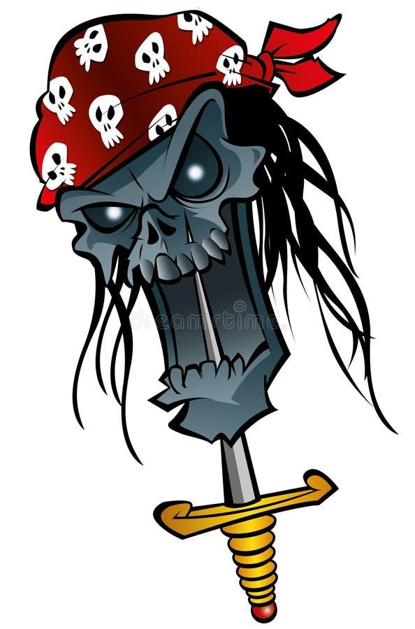 tecknad film piratkopierar zombien stock illustrationer