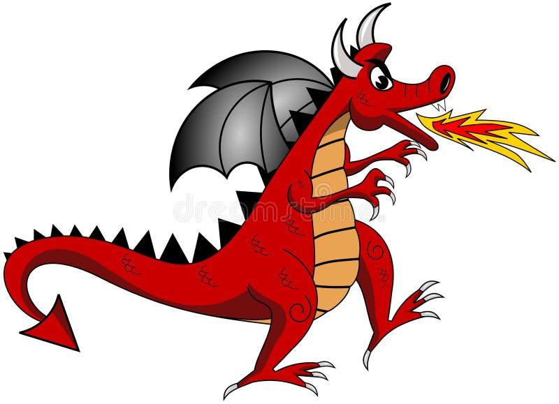 Tecknad film röda Dragon Exhaling Fire Isolated stock illustrationer