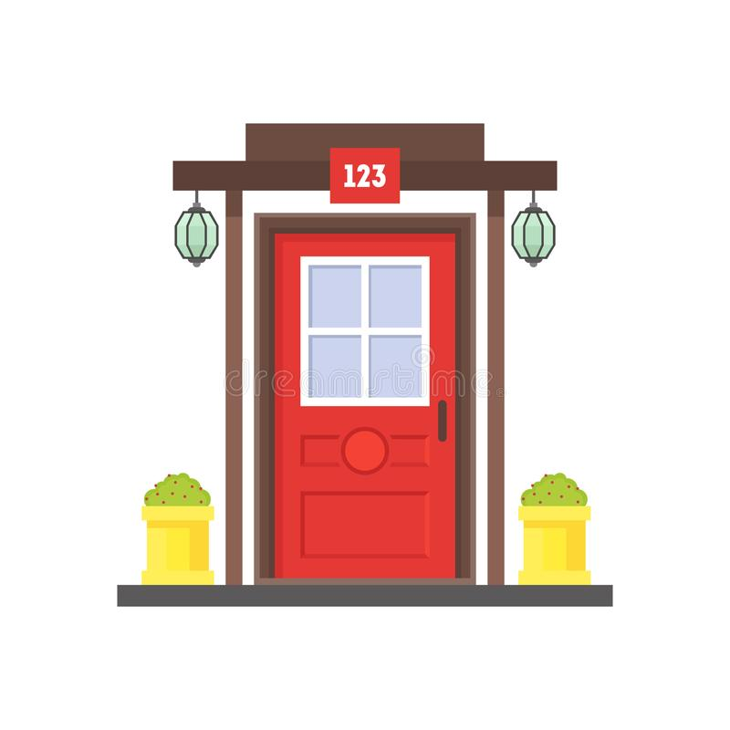 Tecknad film röda Front Door av hus vektor royaltyfri illustrationer