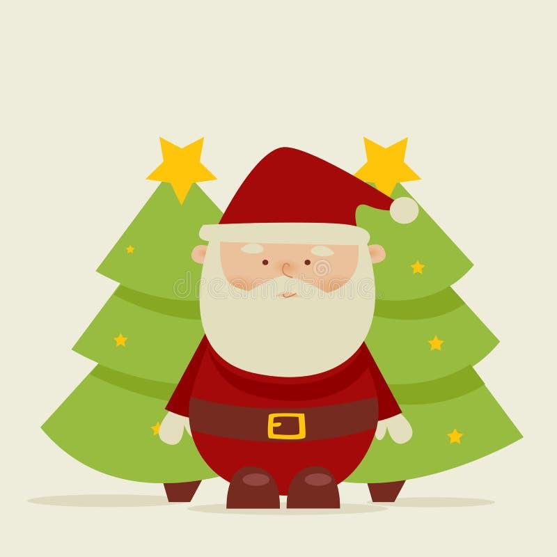 tecknad film retro santa stock illustrationer