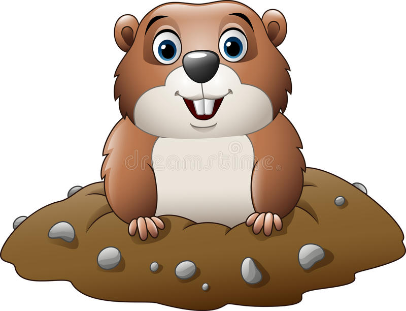 Tecknad film roliga Groundhog royaltyfri illustrationer