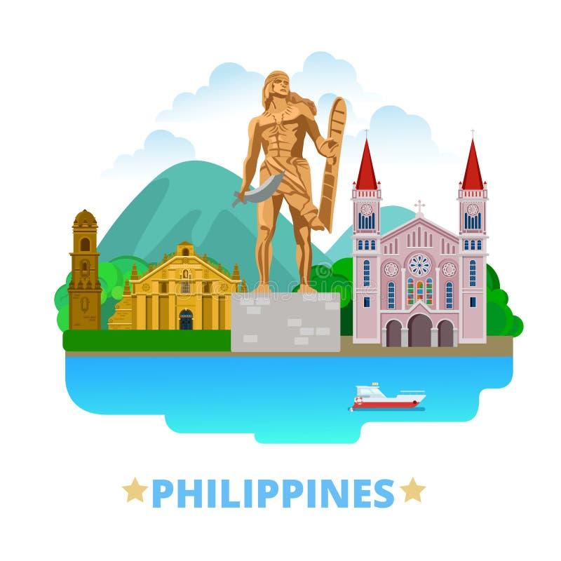 Tecknad film s för lägenhet för mall för Filippinernalandsdesign vektor illustrationer
