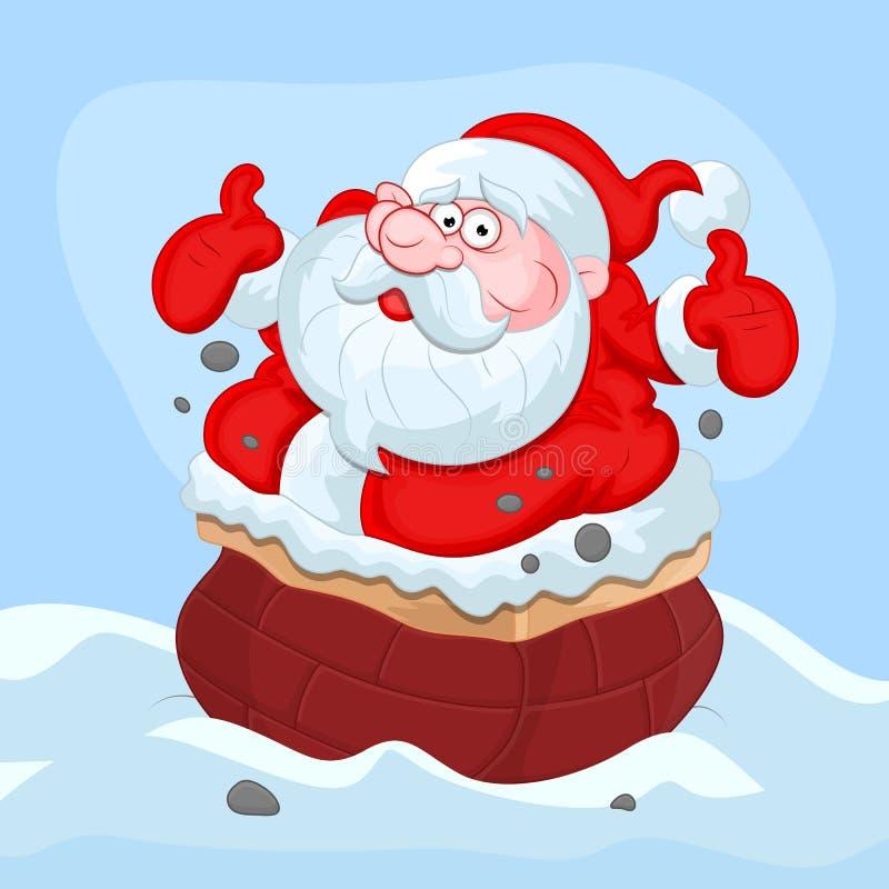 Tecknad film Santa Claus - julvektorillustration stock illustrationer