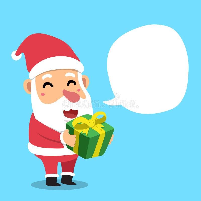 tecknad film Santa Claus med anförandebubblan stock illustrationer