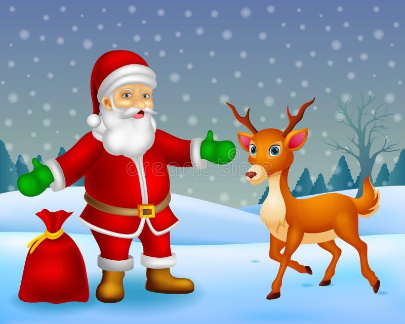 Tecknad film Santa Claus och tecknad filmhjortar med bakgrund stock illustrationer
