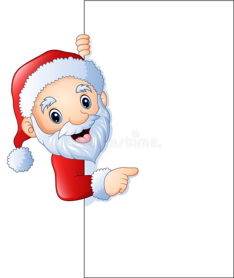 Tecknad film Santa Claus som pekar på ett tomt tecken stock illustrationer