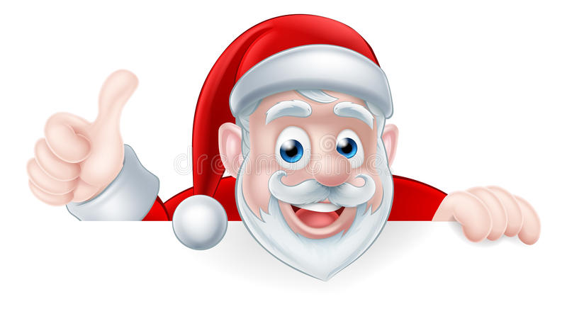 Tecknad film Santa Thumbs Up vektor illustrationer