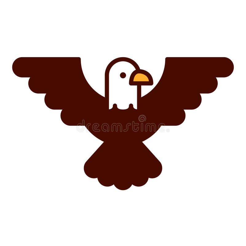 Tecknad film skalliga Eagle Emoji Icon Isolated vektor illustrationer