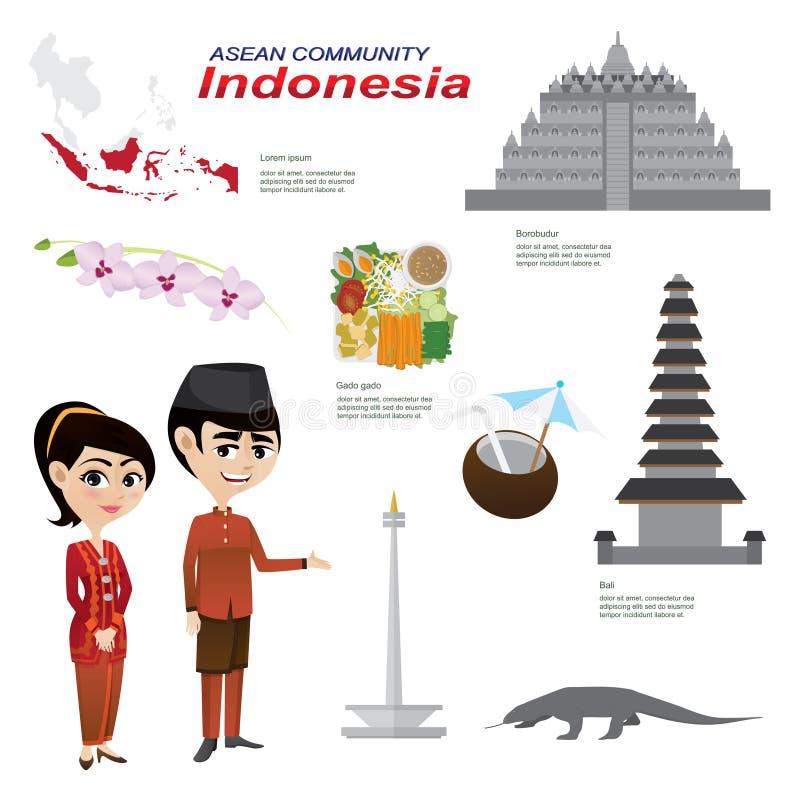 Tecknad film som är infographic av indonesia ASEAN-gemenskap royaltyfri illustrationer