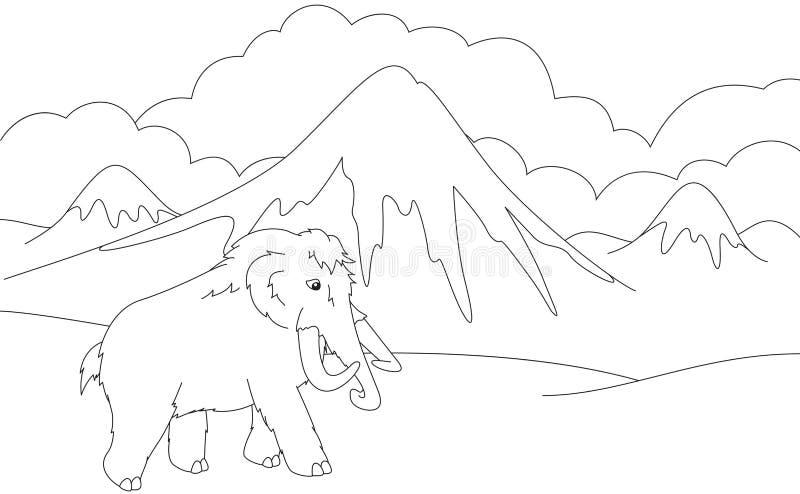 Tecknad film som är kolossal på bakgrunden av en förhistorisk natur Educa vektor illustrationer