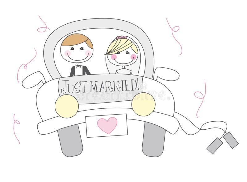 tecknad film som att gifta sig bara stock illustrationer