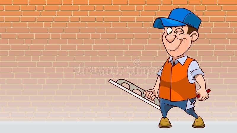 Tecknad film som in blinkar mannen med hjälpmedel för murbrukvägg vektor illustrationer