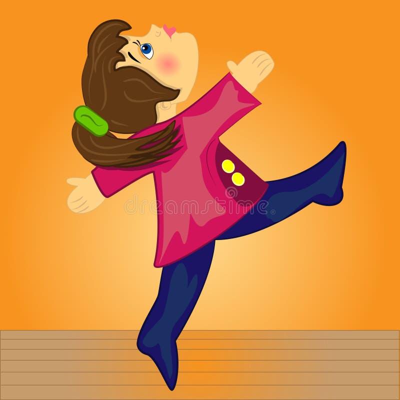 tecknad film som gör den gymnastiska ungesporten för flicka stock illustrationer