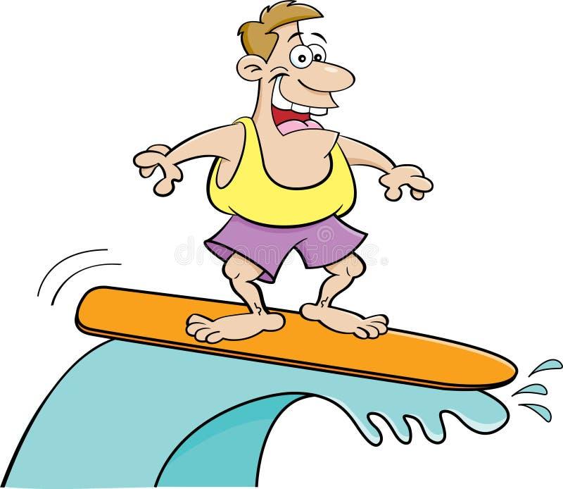 Tecknad film som ler att surfa för man stock illustrationer