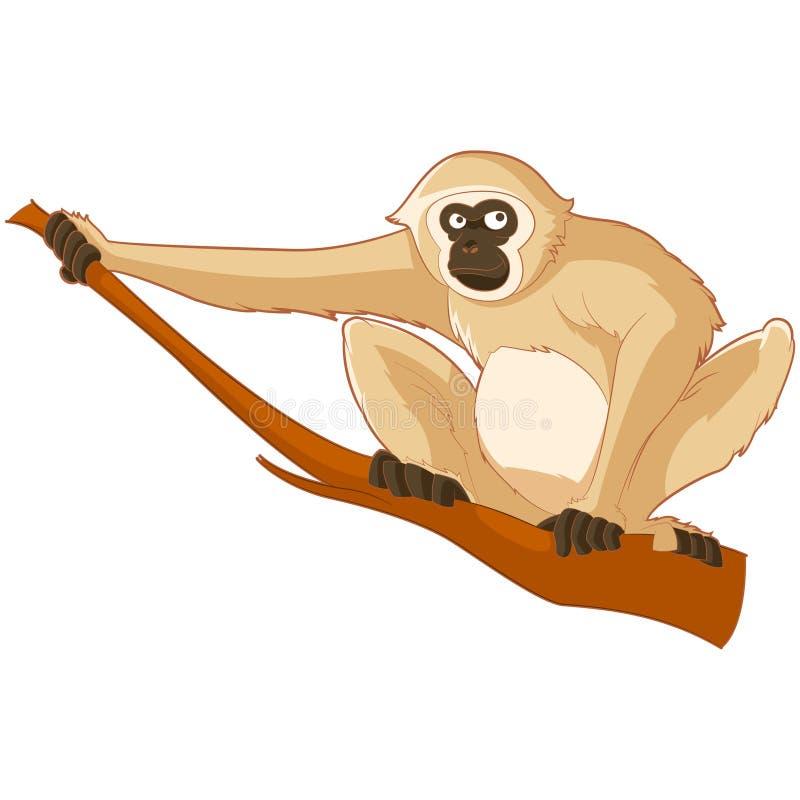 Tecknad film som ler Gibbon vektor illustrationer