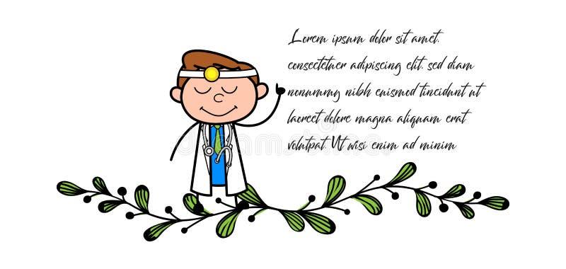 Tecknad film som ler illustrationen för doktor Pointing Finger Vector stock illustrationer