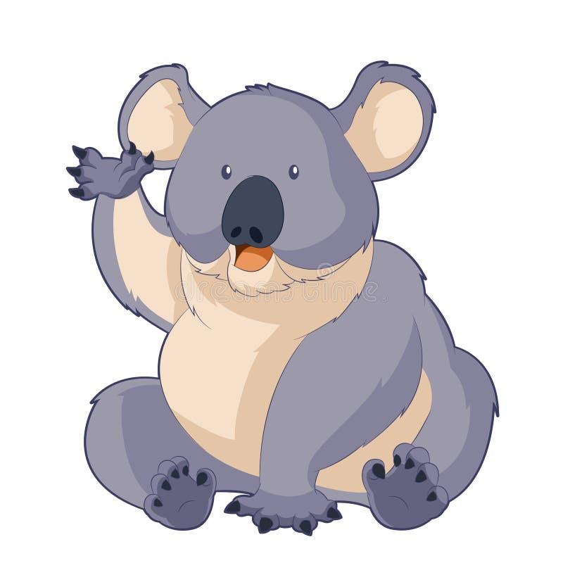 Tecknad film som ler koalan royaltyfri illustrationer