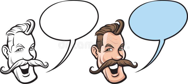 Tecknad film som ler mannen med den stora mustaschframsidan stock illustrationer