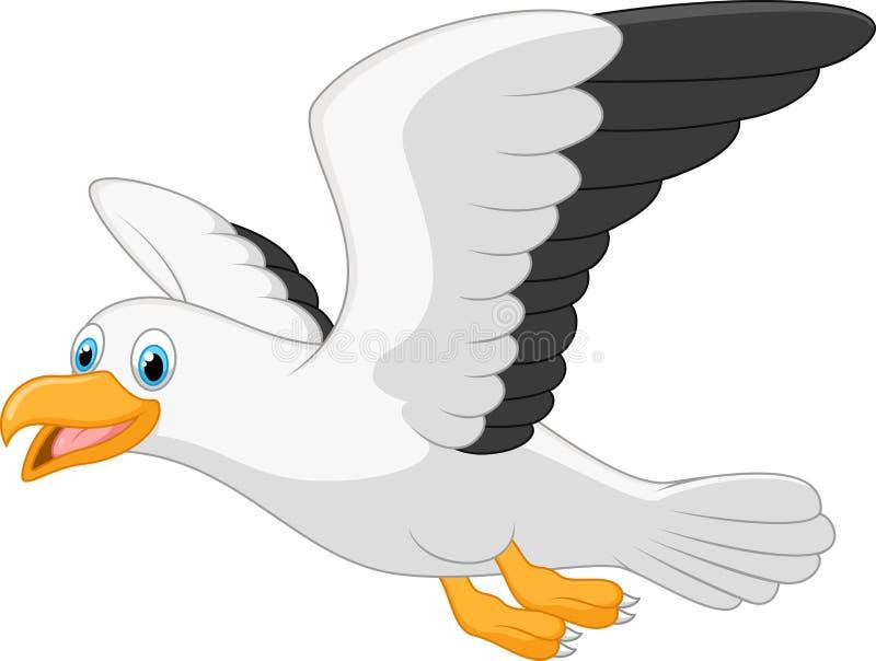 Tecknad film som ler seagullen royaltyfri illustrationer