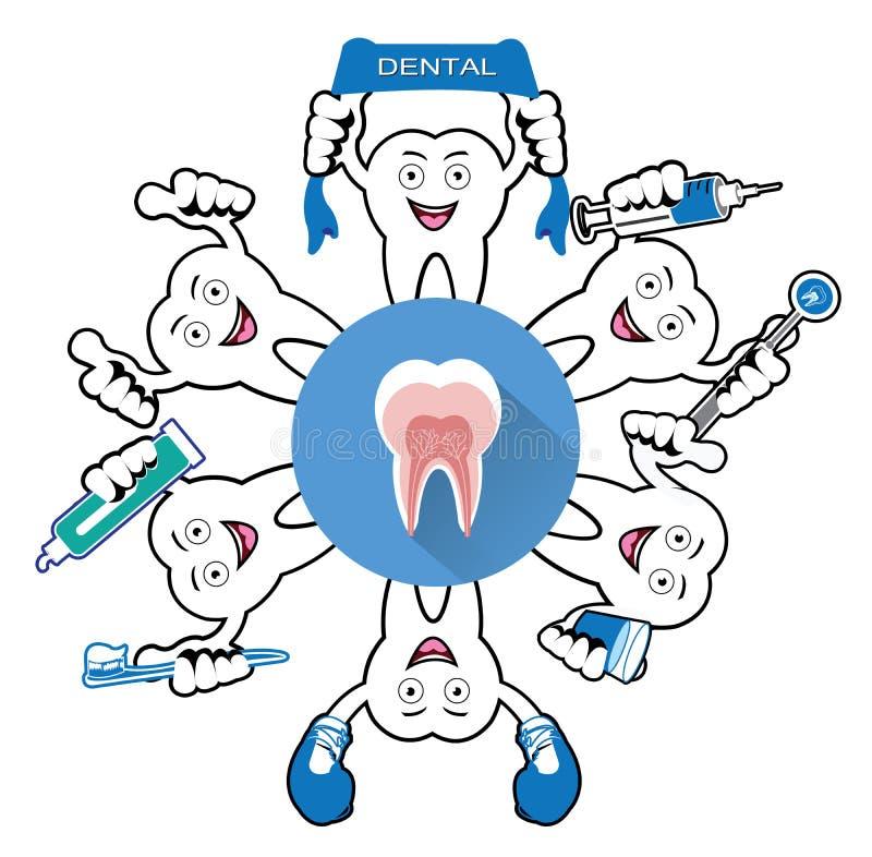 Tecknad film som ler tanden med tandsymbolen vektor illustrationer