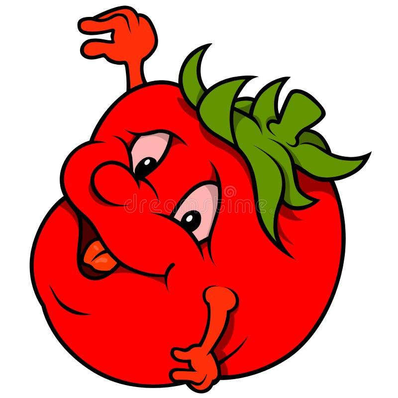 Tecknad film som ler tomaten stock illustrationer