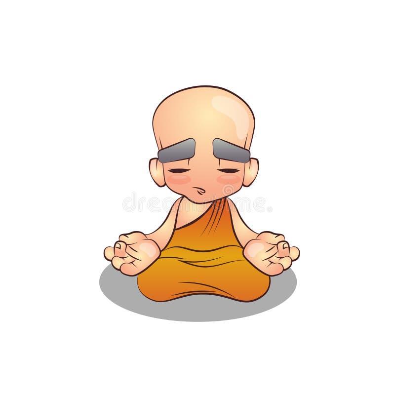 Tecknad film som mediterar munken Illustration arkivfoton