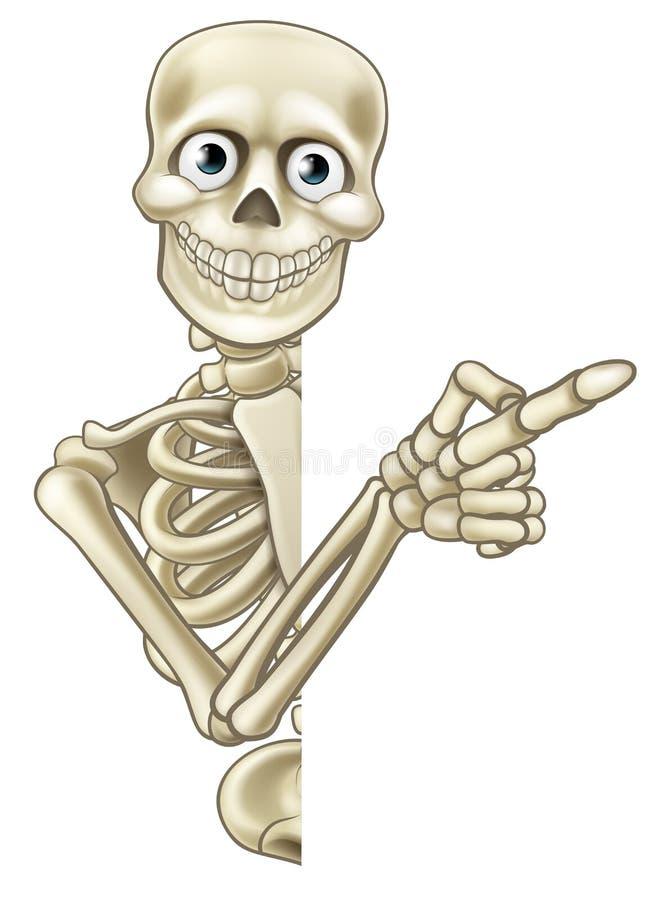 Tecknad film som pekar skelettet stock illustrationer