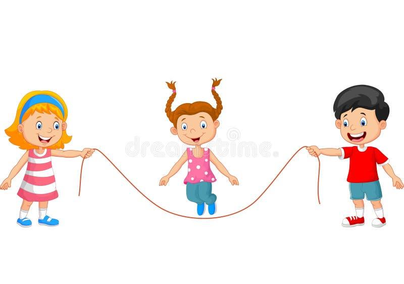 Tecknad film som spelar hopprepet stock illustrationer