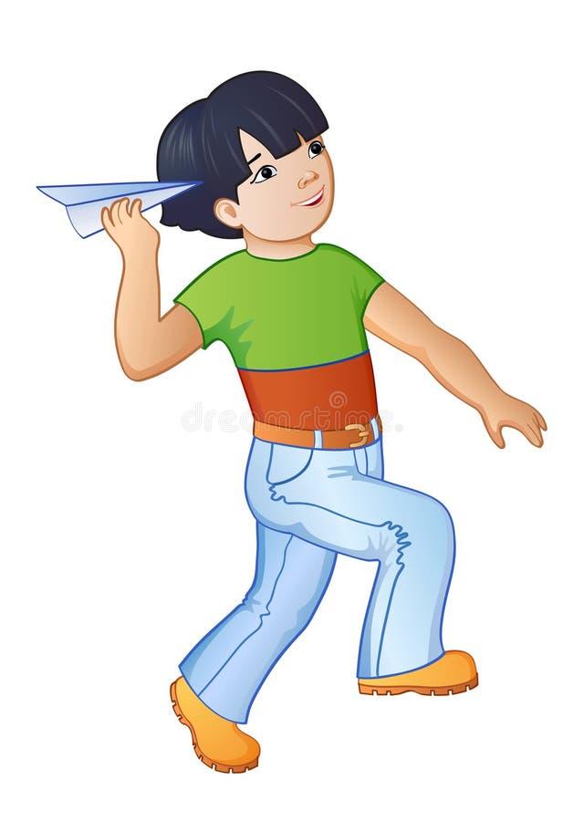 Tecknad film som spelar pojken royaltyfri illustrationer