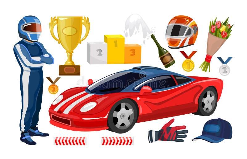 Tecknad film som springer beståndsdelsamlingen Vinnarekopp som springer hjälmen, handskar, racerbilman, trofémedaljer, sportbil V royaltyfri illustrationer