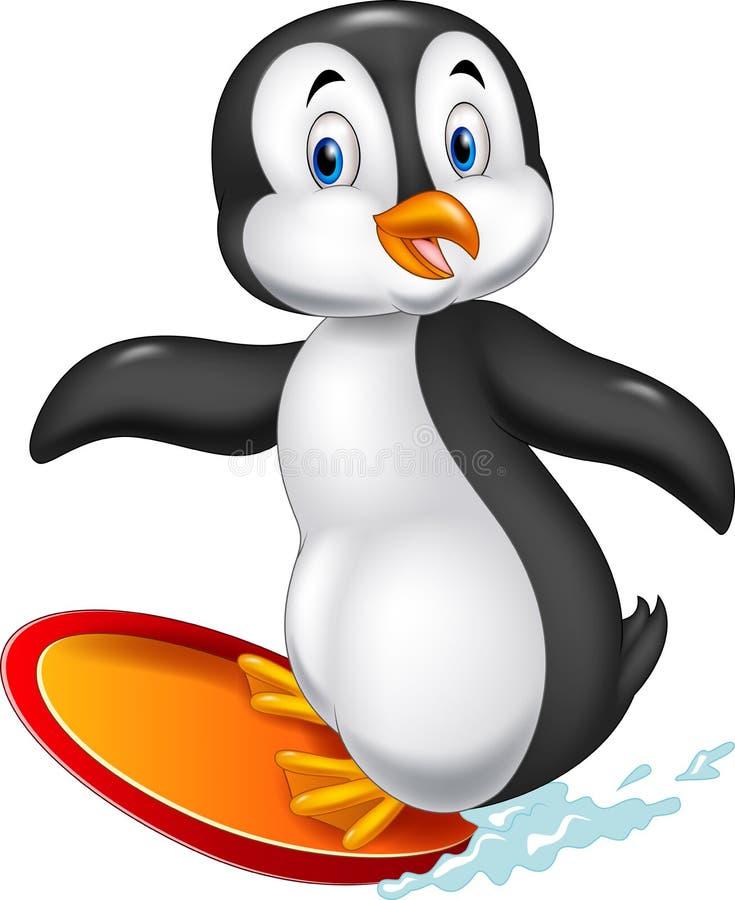 Tecknad film som surfar pingvinet vektor illustrationer