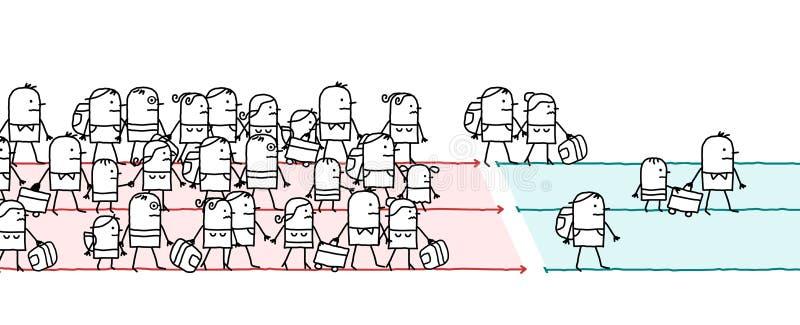 Tecknad film som vandrar folk vektor illustrationer