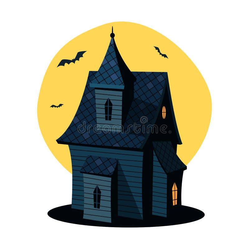 Tecknad film spökat hus vektor illustrationer