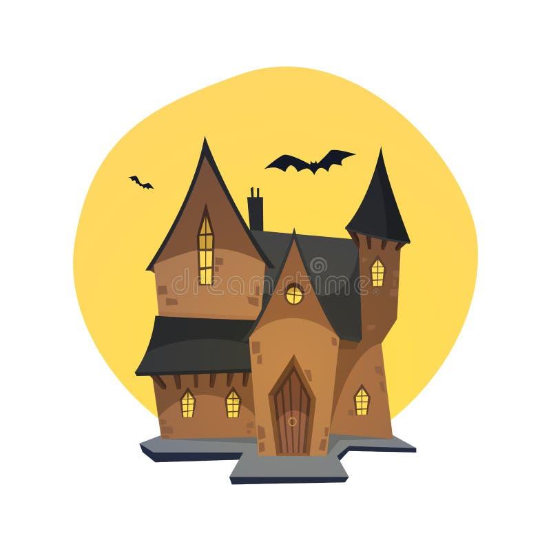 Tecknad film spökat hus stock illustrationer