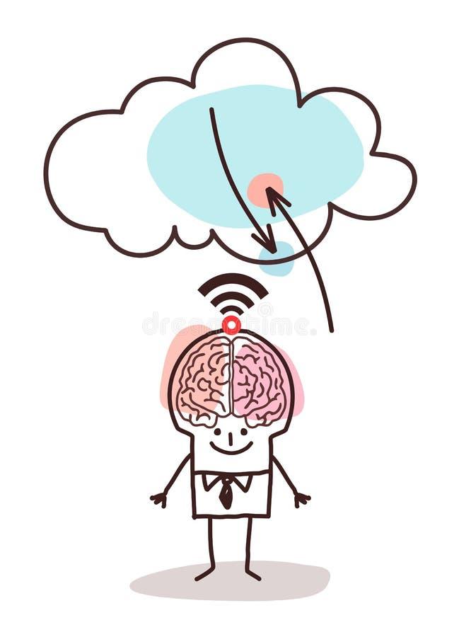 Tecknad film stor Brain Man och molnanslutning stock illustrationer