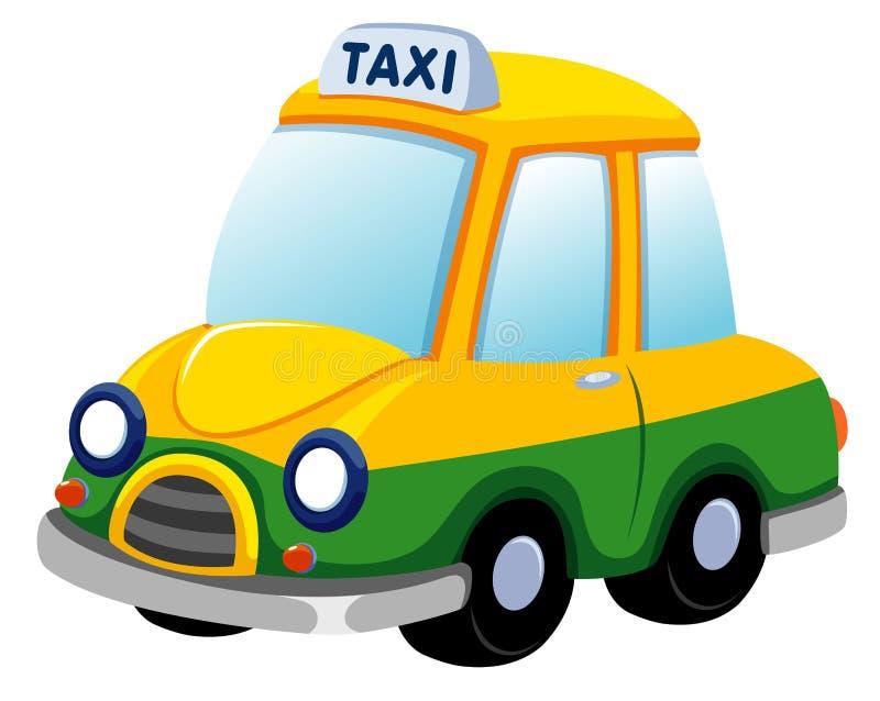 Tecknad film taxar bilen stock illustrationer