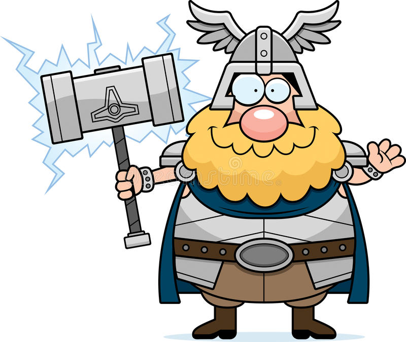 Tecknad film Thor Waving stock illustrationer