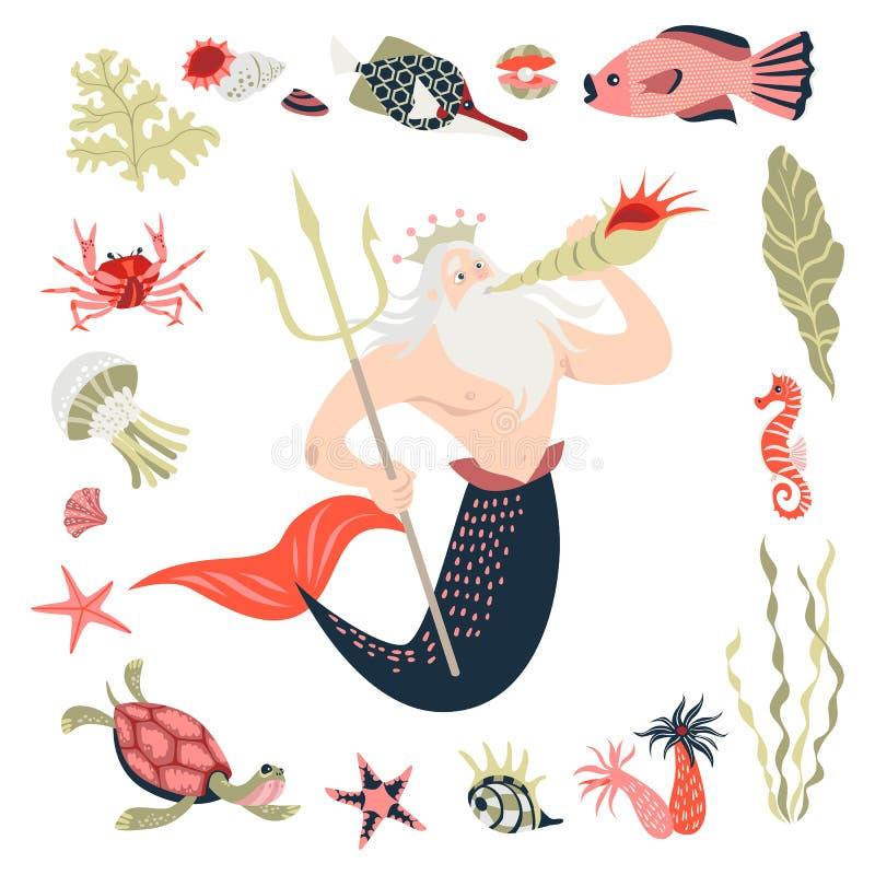 Tecknad film triton som omges av den tropiska fisken, djuret, havsväxt och koraller Troll med champinjonen bubblor kopierar vekto stock illustrationer