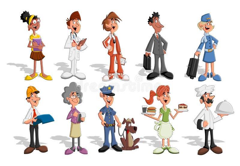 Tecknad filmaffärsfolk stock illustrationer