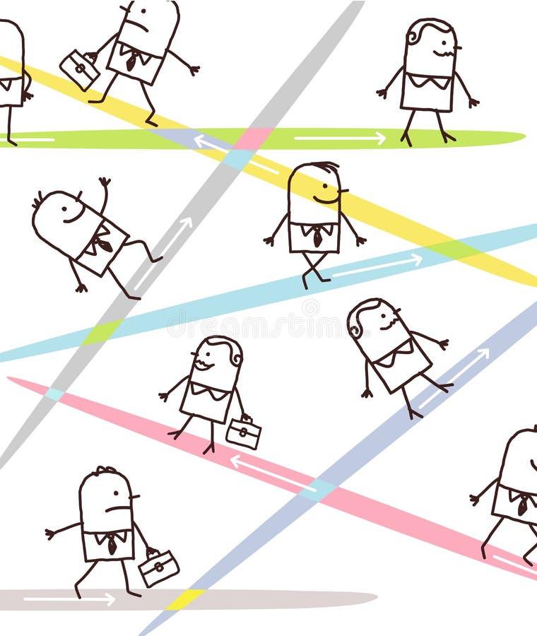 Tecknad filmaffärsfolk och riktningar vektor illustrationer