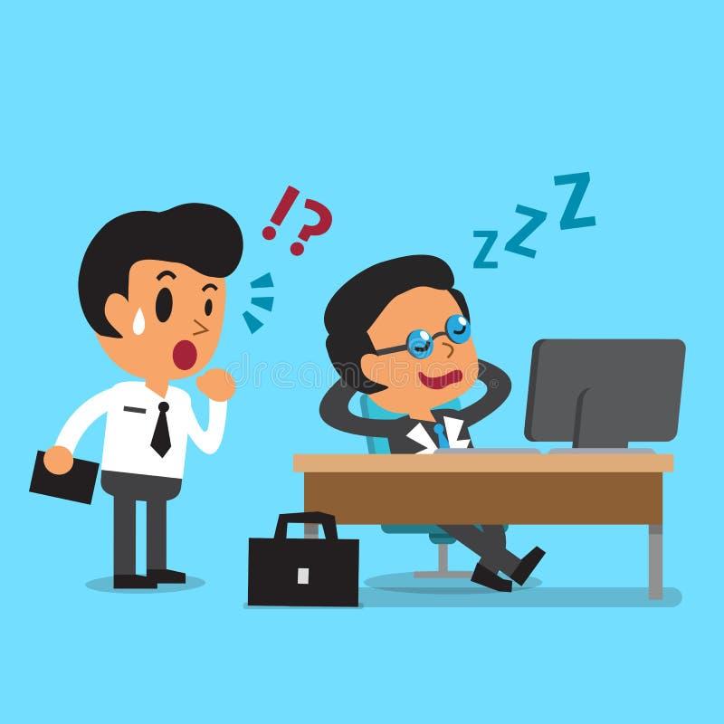 Tecknad filmaffärsframstickande som sovande faller på hans kontorsskrivbord royaltyfri illustrationer