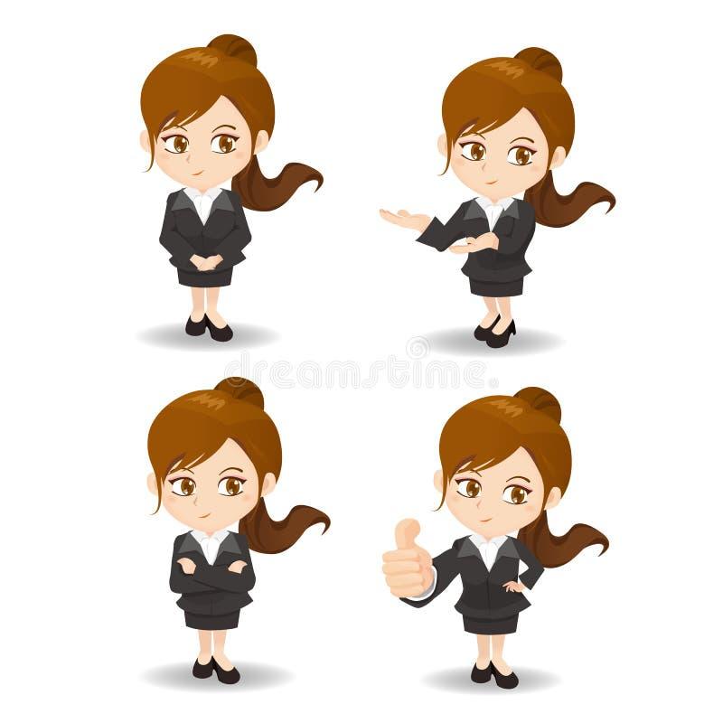 Tecknad filmaffärskvinna stock illustrationer