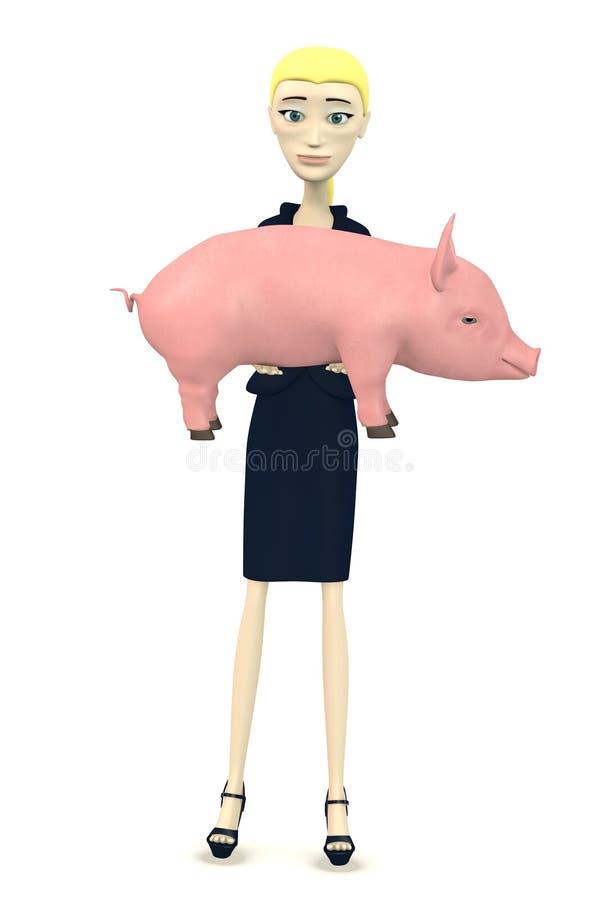Tecknad filmaffärskvinna med det lilla svinet vektor illustrationer