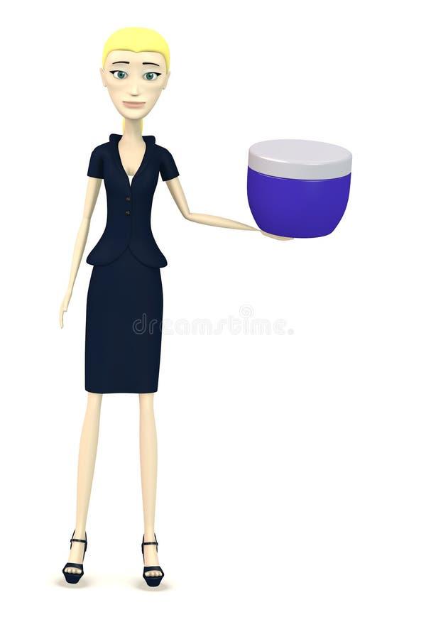 Tecknad filmaffärskvinna med kräm royaltyfri illustrationer