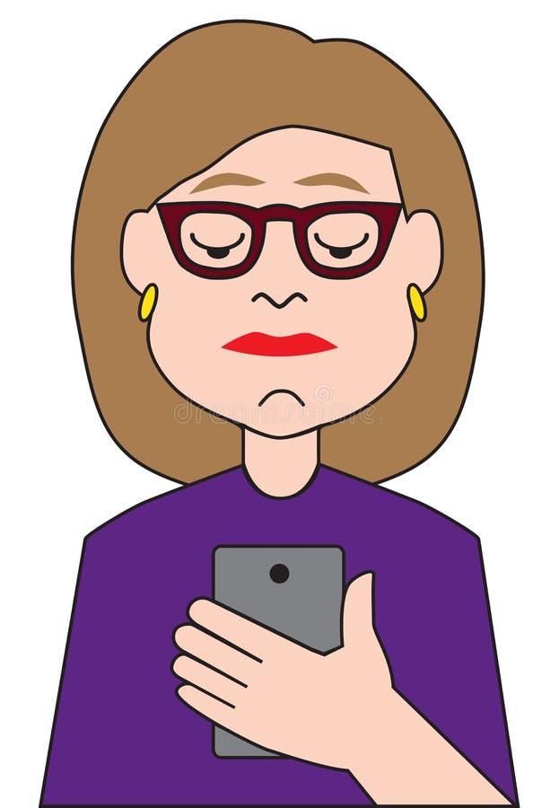 Tecknad filmaffärskvinna Using Cell Phone stock illustrationer