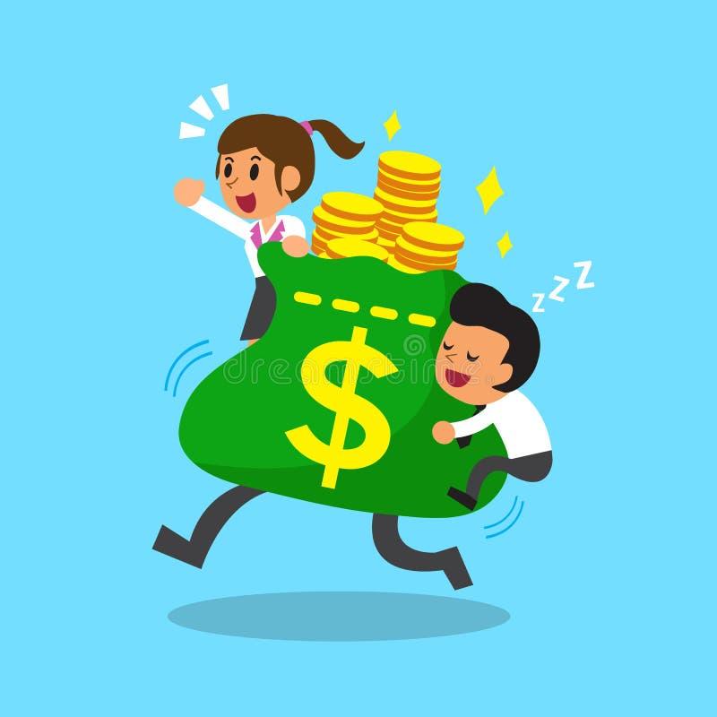 Tecknad filmaffärslag med den stora pengarpåsen vektor illustrationer