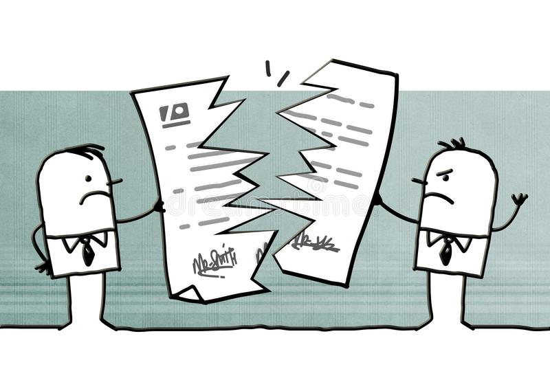 Tecknad filmaffärsmän som bryter ett avtal vektor illustrationer