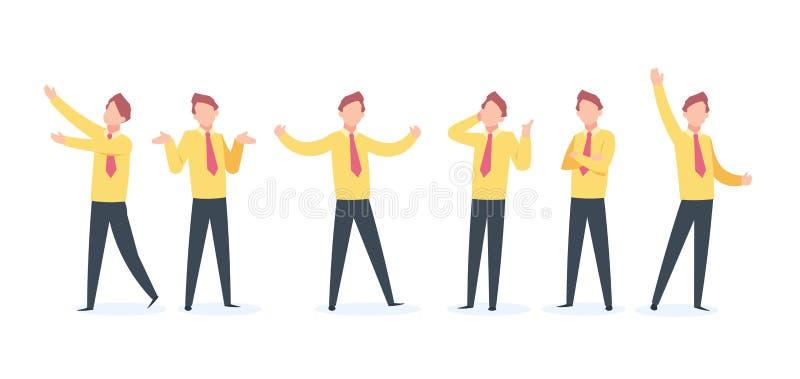 Tecknad filmaffärsman Character Lycklig kört hopp för affärsgrabb fluga, plan konturglädje för representant och ilsken person car vektor illustrationer